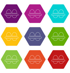 fresh eggs icons set 9 vector image
