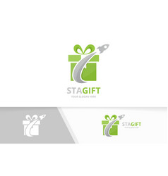 Gift and rocket logo combination present vector