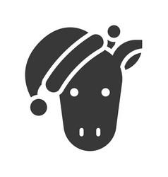 Giraffe wearing santa hat silhouette icon design vector