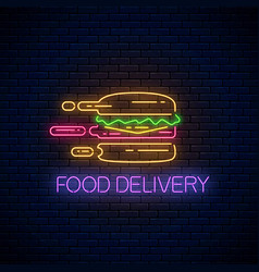 glowing neon food delivery sign with hurrying vector image