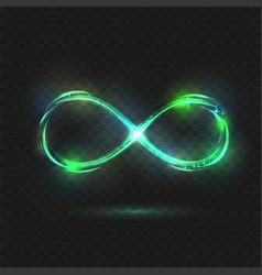 Green sparkle infinity symbol at dark background vector