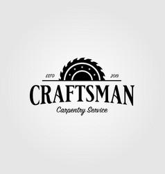 Grinding craftsman carpentry vintage retro logo vector