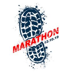 Grunge shoes marathon text background vector