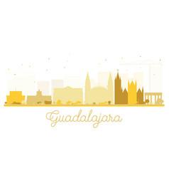 guadalajara city skyline golden silhouette vector image