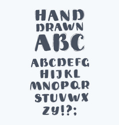Hand drawn abc upper case letters set vector