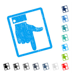 Hand pointer down icon rubber watermark vector