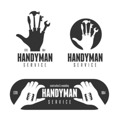 Handyman logos emblems badges in vintage style vector