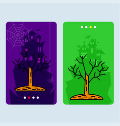 happy halloween invitation design with tree vector image