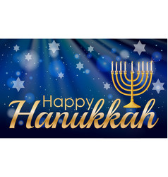happy hannukkah with candles and stars vector image