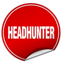 Headhunter round red sticker isolated on white vector