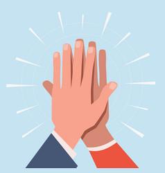 High five hands two hands giving vector