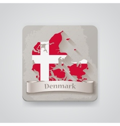 Icon of Denmark map with flag vector