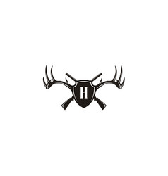 Initial shield deer buck stag antler gun hunt logo vector