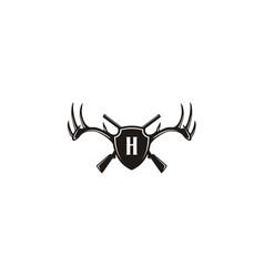 initial shield deer buck stag antler gun hunt logo vector image