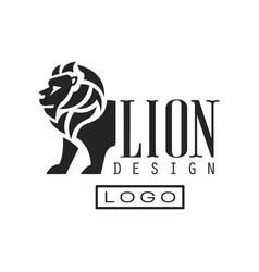 Lion logo design monochrome element for poster vector