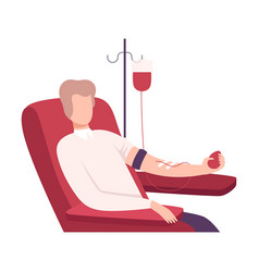 male donor giving blood in medical hospital vector image