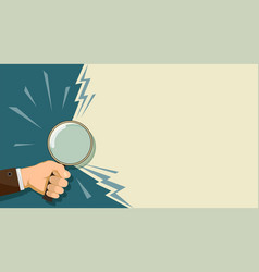 man holding a magnifying glass in his hand vector image