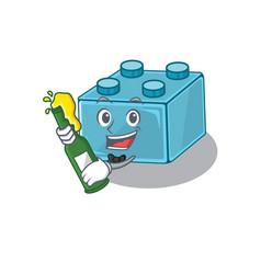 Mascot cartoon design lego brick toys vector