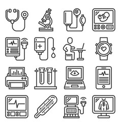 Medical equipment for diagnostic icons set vector