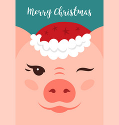 merry christmas card funny cartoon vector image