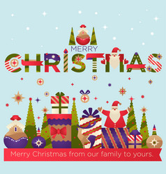 merry christmas from out family to yours greeting vector image