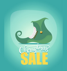 merry christmas sale poster with a cute elfs shoe vector image