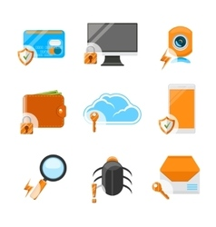 Network security flat icon set vector