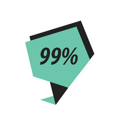 Ninety nine percent label black green vector