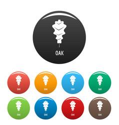 oak leaf icons set color vector image