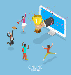 Online award flat isometric concept vector