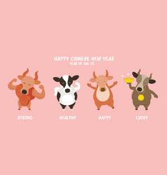 Ox cow bull character greeting chinese new year vector