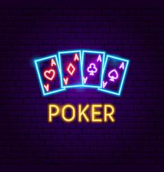poker aces neon label vector image