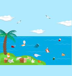 Pollution sea ocean concept tropical shore place vector