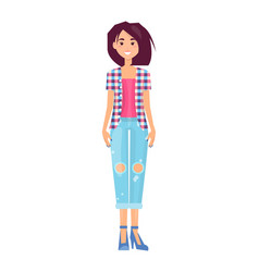 pretty brunette in fashionable jeans trousers vector image
