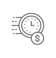 Quick loan fast deposit line icon vector