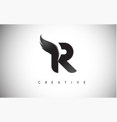 R letter wings logo design with black bird fly vector