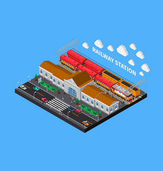 Railway station isometric composition vector