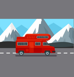 red camp truck background flat style vector image