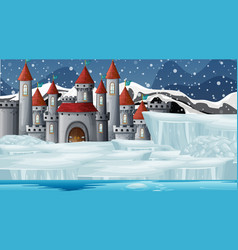 Scene with castle in snow vector