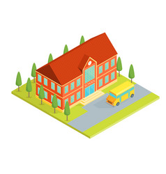 school building isometric view vector image