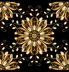 Seamless pattern with gold antique floral vector