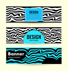 set horizontal color banners with bright waves on vector image