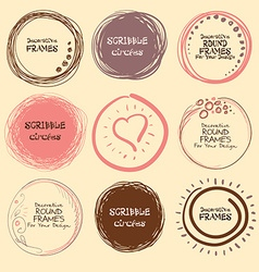 Set of hand drawn scribble circles and decorative vector image