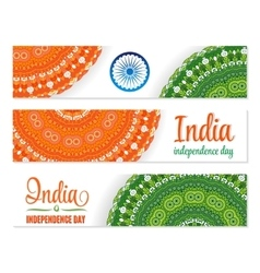 Set of watercolor banners Indian Flag for vector