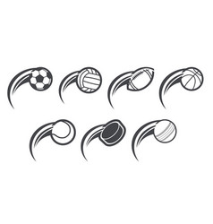 set swoosh sport icons vector image
