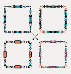 set with abstract geometric ethnic frames vector image