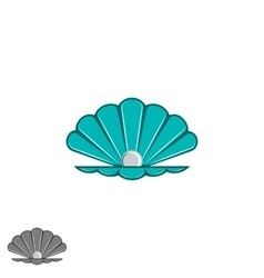 Shell pearl logo open seashell with a pearl vector