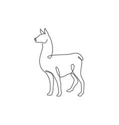 Single continuous line drawing cute alpaca vector