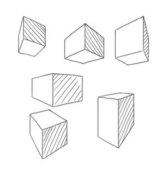 sketch cubes and parallelepipeds outline set of vector image
