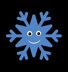 Snowflake smiley baby face cute winter blue snow vector